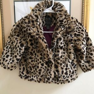 Girls Lucky Brand faux fur coat size S 5/6